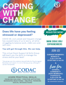 A picture of CODAC's Coping with Change Group flyer. All the information on the flyer is also listed in the body text of this web page.